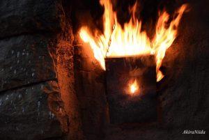 三里窯 焚き口から噴き出す炎